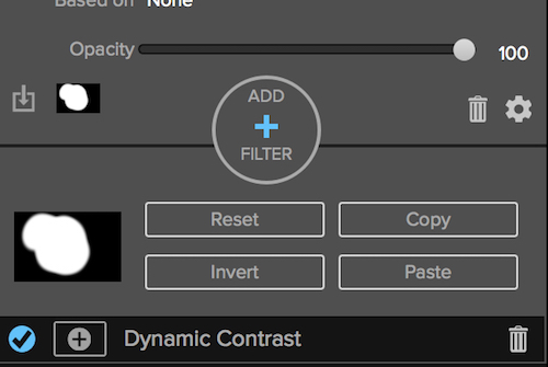 Layer mask panel in the effects module